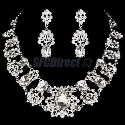 Wedding Bridal Silver Jewelry Clear Rhinestone Diamante Necklace & Earrings Set