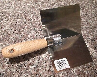 "NEW Inside Corner Drywall Tool - Large 4"" Stainless Steel Wood Handle FREE SHIP"