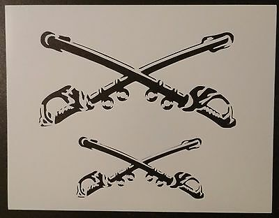 "Crossed Swords Sabres Sabres Sword 11"" x 8.5"" Custom Stencil FAST FREE SHIPPING"