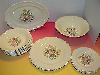 13 pc Taylor Smith Taylor TST 436 Embossed Rim Floral Center Serving Plate Bowl