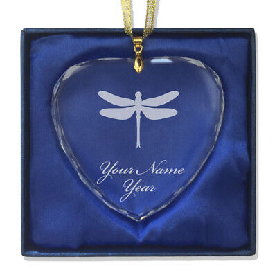 Personalized Heart Glass Christmas Ornament - Dragonfly