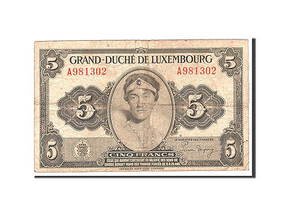 Luxembourg, 5 Francs, 1944, KM:43b, Undated, VF(20-25)