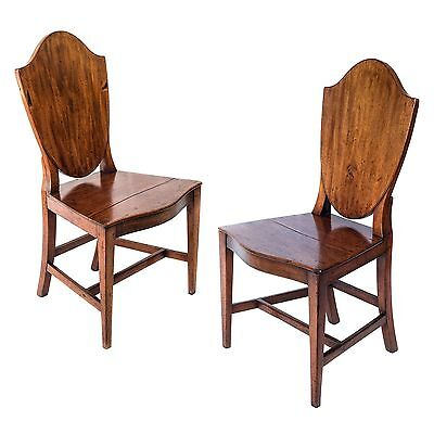 Antique 18th Century George III Period Pair of Mahogany Hall Chairs, c. 1790