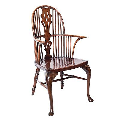 Antique English 18th Century Rustic High-Back Windsor Kitchen Armchair, c. 1760