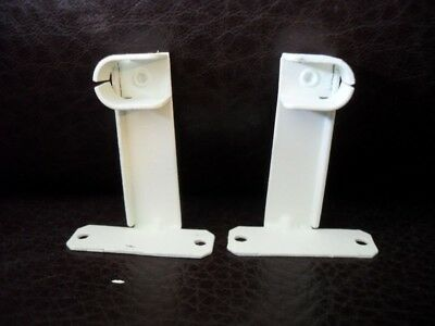 "Vtg WHITE Painted Steel Cafe Style CURTAIN Rod Sash Brackets 3/8"" drop in rod"