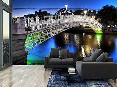 Dublin Ireland Bridge Night River Wall Mural Photo Wallpaper GIANT WALL DECOR