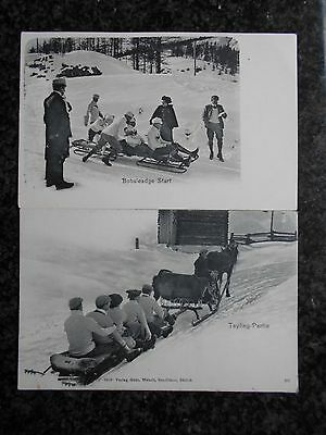 2 Early U/B Postcards from Switzerland Bobsledge & Tayling - Horse Sleigh - Fine