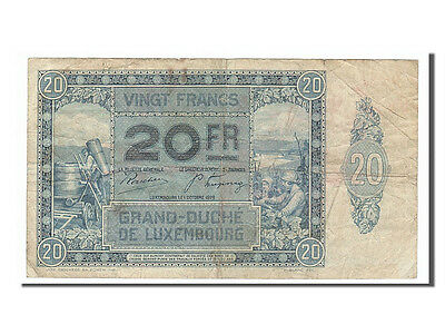 Luxembourg, 20 Francs, 1929, KM #37a, 1939-10-01, VF(30-35), 0064370