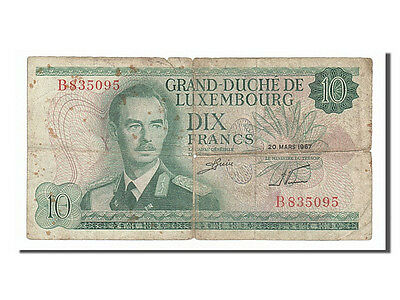 Luxembourg, 10 Francs, 1967, KM #53a, 1967-03-20, VG(8-10), B835095