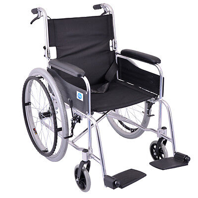 Self Propelled Aluminium Silver Wheelchair with Pneumatic Rear Tyres by Viva Med
