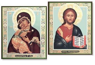 """Pair Set of 2 Russian Wooden Icons Virgin Of Vladimir and Christ the Teacher 6"""""""