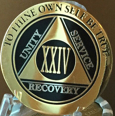 24 Year AA Medallion Black Gold Plated Bi-Plate Alcoholics Anonymous Chip Coin