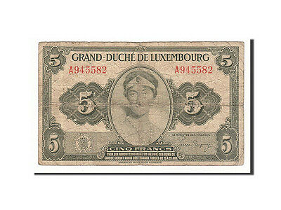 Luxembourg, 5 Francs, 1944, KM #43b, F(12-15), A945582