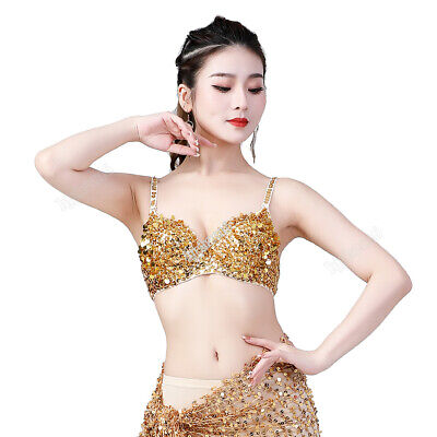 Belly Dance Costume Outfit Sequins &Beaded Top Bra 6 Colors Size 34/36/38 B Cup
