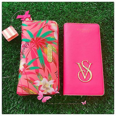 Victoria's Secret Pink Flower coin purse VS ID Card Case Zipper Wallet