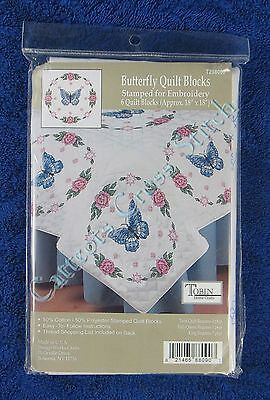 Stamped Cross Stitch Quilt Blocks Butterfly & Rose Set of 6 Flowers Tobin