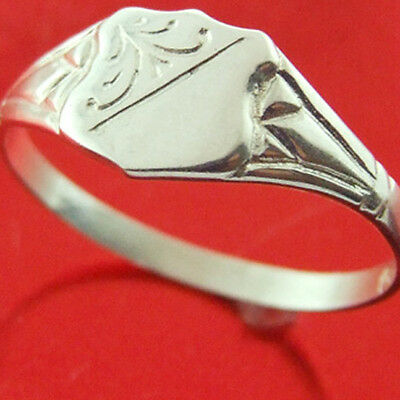 Ffs3-26Sr Classic Real 925 Authentic Sterling Silver Signet Ring Kids Size F