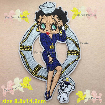 NEW Betty Boop Sailor Lady & Pudgy LARGE EMBROIDERED IRON/SEW ON FABRIC PATCH