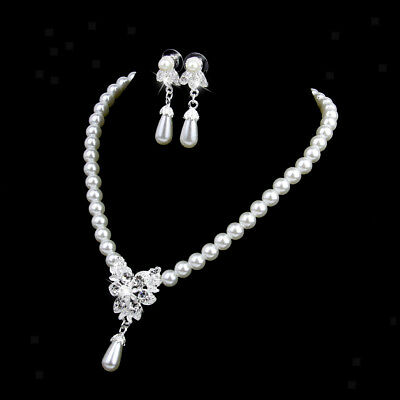 Elegant Wedding Party Jewelry Set White Pearl Crystal Necklace Drop Earrings