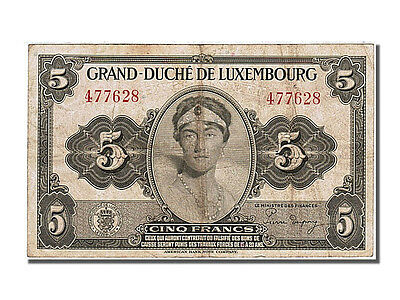 Luxembourg, 5 Francs, 1944, KM #43a, VF(30-35), 477628