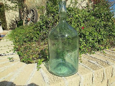 Antique Blue Green Glass Bottle Jug Demijohn Carboy Mouth Blown Mold 1 Gallon