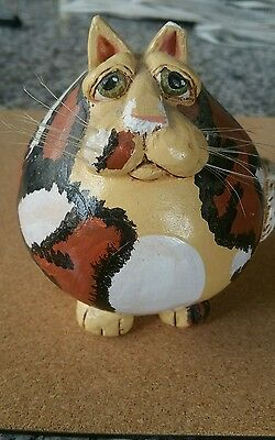 Vicki Thomas by Enesco Small Fat Calico Gourd Cat - FLAWS