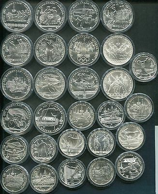 RUSSLAND RUSSIA 1977/1980 - Alle 14x5+ 14x10 Rubel in Silber, ST! OLYMPIA MOSKAU