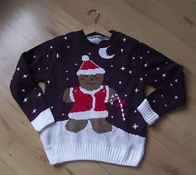 NEW Boys Girls Kids Christmas Clothes 5-6 & 7-8 Years Purple Jumper Xmas Top