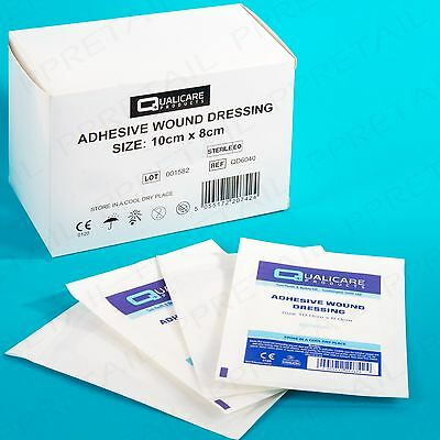 10 LARGE ADHESIVE WOUND DRESSINGS 10x8cm Cut Graze Bandage First Aid Heal Fabric