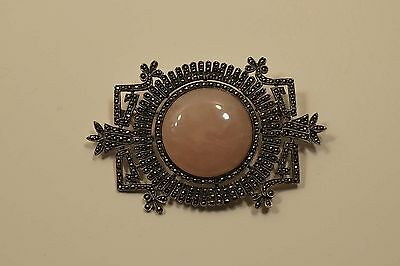 Beautiful Judith Jack Sterling Silver Marcasite Pink Quartz Brooch  A323