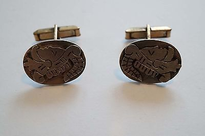 Vintage Taxco Mexico Sterling Silver Aztec Warrior Cufflinks Signed  A152