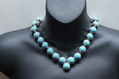 Heavy Mexico Sterling Silver Turquoise Cabochon Necklace Signed 240 Gr. A398