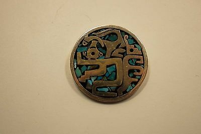 Mexico Sterling Turquoise Inlay Figural Brooch Pendant  A209