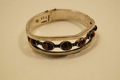 Mexico Sterling Silver Double Hinged Onyx Bangle Bracelet Signed Jgl 49 Gr A231