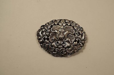 Large Victorian 800 Silver Repousse Floral Design C Clamp Brooch Pin  A390