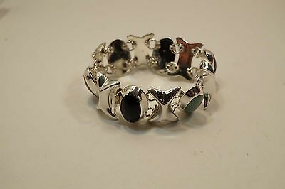 Beautiful Mexico Two Trees Ts-79 Sterling Silver  Multistone Bracelet  A401