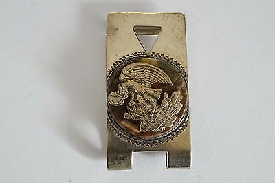 Vintage Mexico Sterling Eagle/snake Agate Stone? Money Clip Signed A139