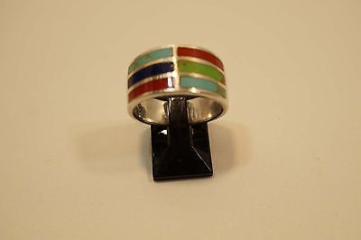 Cornelia Jamon Native American Zuni  Sterling  Multi Stone Inlay Ring    A222