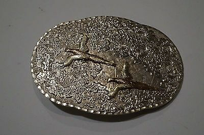 Amazing Bhjco Sterling And 10K Gold Trim Pheasant Belt Buckle  A146