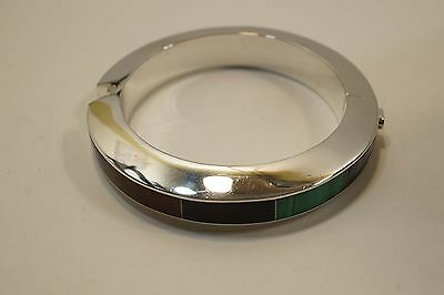 Beautiful Mexico Sterling Silver Modernist Multistone Inlay Hinged Bracelet A343