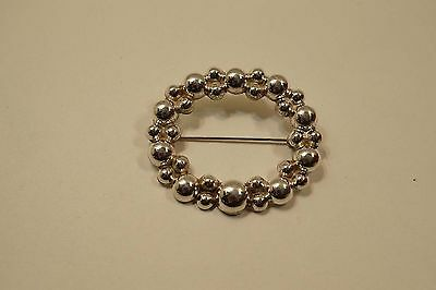 Mexico Sterling Silver Oval Ball Bead Brooch Pin Sined Tp-115  A385