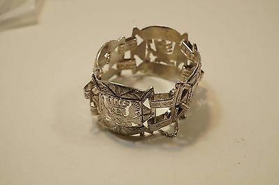 "Wide Sterling Mayan Aztec Figure Bracelet  1 3/8""  73.0 Grams  A378"