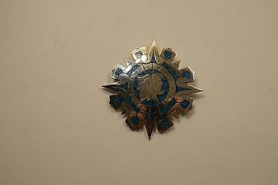 Vintage Mexico Sterling Silver Turquoise Inlay Brooch Pendant Signed   A335
