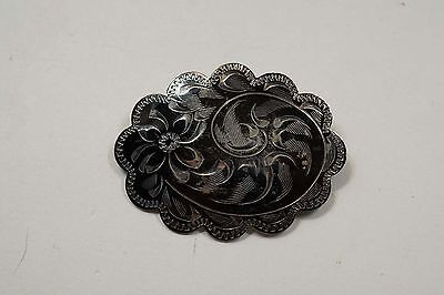 Vintage Sterling Ladye Fayre Niello Brooch Pin  A237