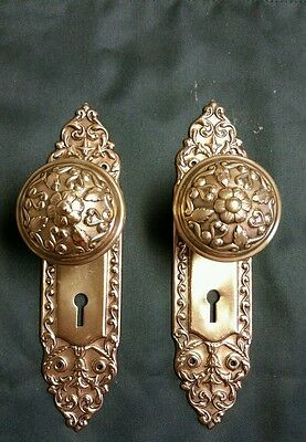 Awesome Set Victorian Brass Door Knobs And Backplates 7 Available