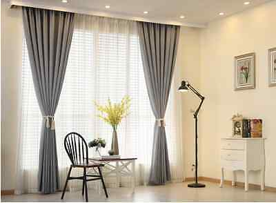 Quality Blockout Eyelet Curtain Linen Velvet Thermal Insulated Grey