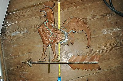 "Gorgeous! Antique LARGE Handcrafted Rooster Weather Vane Topper only, 24"" x 23"""