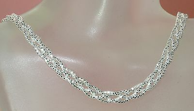 925 STERLING SILVER ITALIAN CHAIN NECKLACE WIDE BRAIDED Joy's
