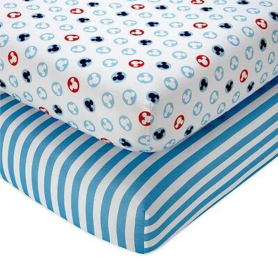 Disney Baby Mickey Mouse 2-Pack Fitted Crib Sheets 6520038, Mickey Icon/Stripe