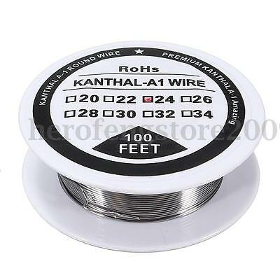 100ft - 24 0.51mm Gauge AWG A1 Kanthal Round Wire Resistance A-1 24g GA 100'